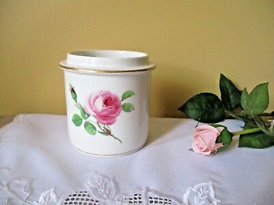 Old Meissen Crossed Sword  Hand painted Pink & Green Roses Jar Bowl Container