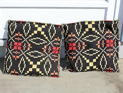 Pr of Pillows Made From Antique Wool Homespun, Jacquard Blue-Red- White, &Yellow
