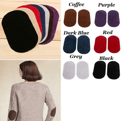 2 x Suede Leather Iron on Oval Elbow Knee Arm Patches Repair Sewing Applique