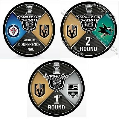 2018 Vegas Golden Knights Three Puck Set Rounds 1 & 2 Western Conference Final