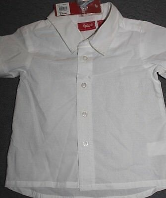 New with Tags SPROUT Baby Boys white cotton short sleeve Shirt size 0 RRP $49.95