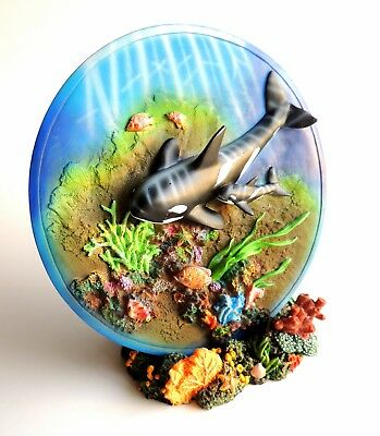 * Gorgeous * 3-D KILLER WHALE PLATE * Mama and Baby * COLORFUL DUO 2 Collectible