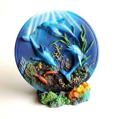 * Gorgeous * 3-D DOLPHINS PLATE * TRIO OCEAN DIVING * 3 Three * COLLECTIBLES