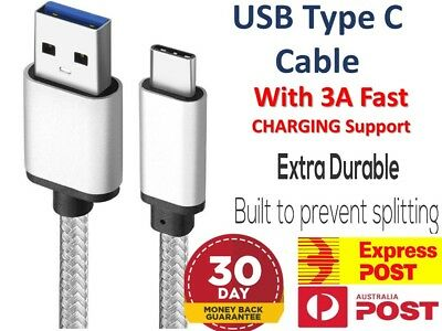 3A Braided Type-C USB-C Fast Charger Cable Cord Long For Samsung S9 10 Note 9 10