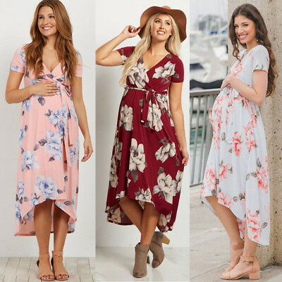 Summer Women Maternity Dresses for Pregnant Floral Loose Long Dress Clothing
