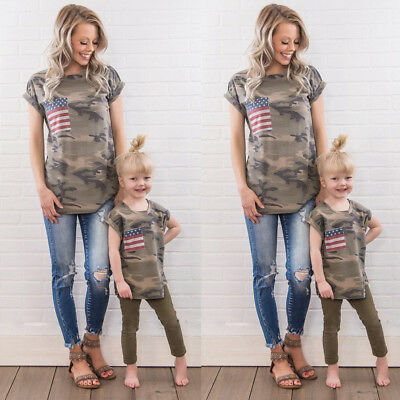 US July 4th Family Outfits Mother Daughter Kids Matching T-shirt Womens Girl Top
