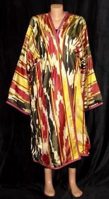 Traditional Uzbek Tajik Handmade Natural Silk Ikat Colorful Chapan Kaftan A11621
