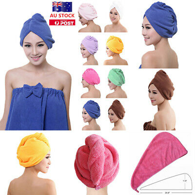 AU Microfibre After Shower Cap Dry Hair Wrap Turban Quick Towel Drying Bathing