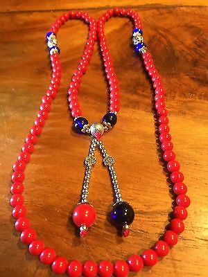 Tribal, Ethnic RED CORAL SILVER LAPAZ MALA BEADS NECKLACE