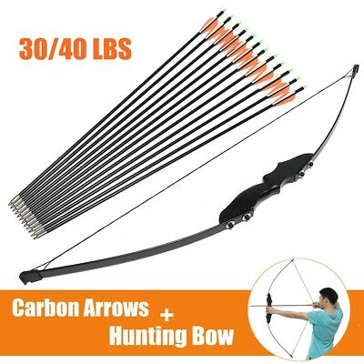 30/40Lbs Tir à l'arc+ 12x Flèches de Carbone Arrow Recurve Arc Chasse Arrow