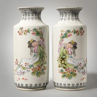 A Pair Of Chinese Porcelain Glaze Lady Figures Vase Marks QianLong Collection