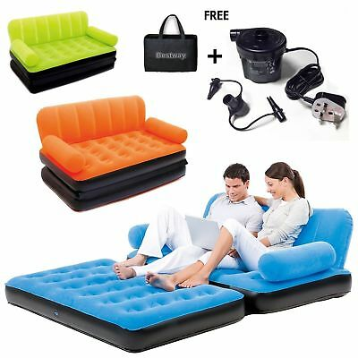 Double Sofa Air Camping Bed Inflatable Blow Up Couch +Air Pump Orange Blue Green