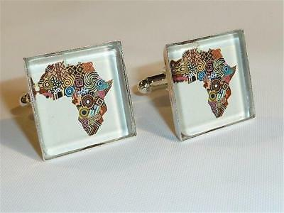 W2297...cufflinks - Map Of Africa - Gift Bag - Free Uk P&p