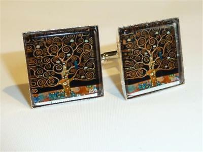 W2298...cufflinks - Gustav Klimt Tree Of Life - Gift Bag - Free Uk P&p