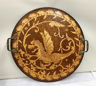Large Arts and Crafts Poker Work Dragon Tray treen circa 1895