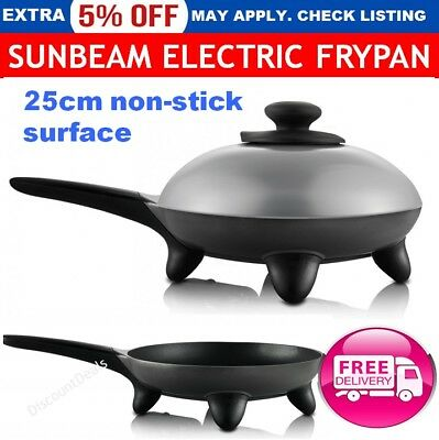 Electric Frypan Skillet 25cm Adjustable Heat Cooking Non Stick Fry Pan SUNBEAM