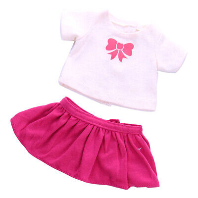18'' Dolls Clothing T-shirt Pink Skirt for American Girl Our Generation Doll