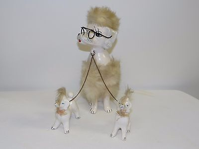 Vintage Porcelain Poodle Mother with Puppies on Chain Leash