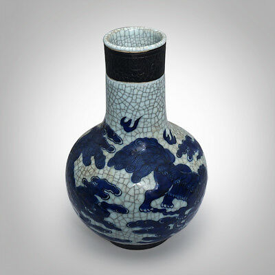 Exquisite Chinese Antiques Hand-carved Crackle Porcelain Dragons Vases Collect