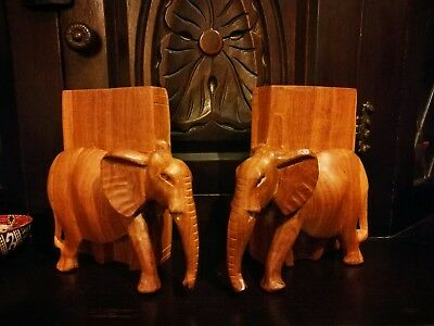 Vintage hand curved solid wooden elephant bookends, libraries, bookshelf