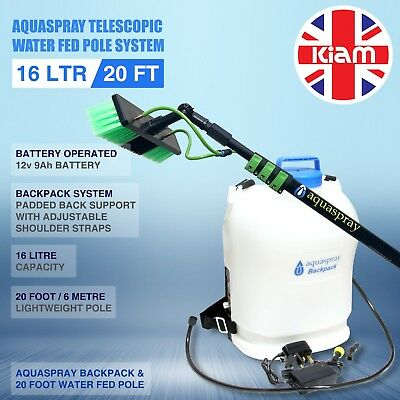 20ft Telescopic Pole + 16L Window Cleaning Backpack Spray Tank System - BATTERY