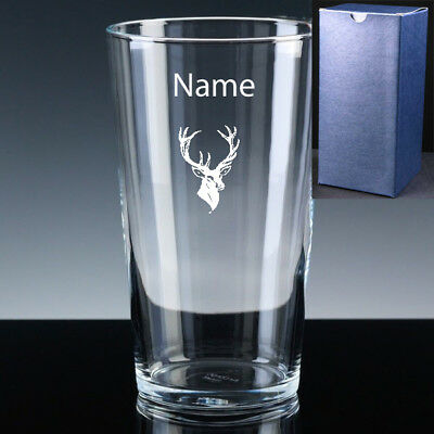 Personalised STAG Pint Beer Glass FREE ENGRAVING Wedding Groom Gift Scottish