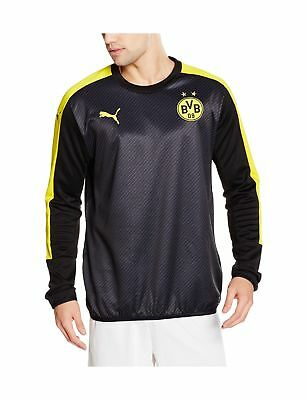 Puma Men's Bvb Cup Stadium Sweat Sweatshirt black-Cyber yellow Medium .