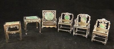 Rare 6pc. Chinese Luen Wo of Shanghai Silver & Jadeite Miniature Furniture set.