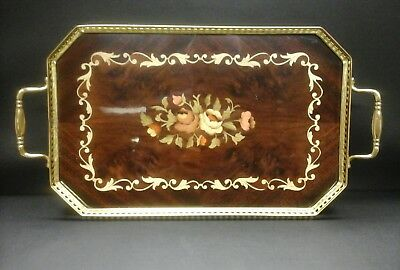 Italy Inlaid Serving Tray Brass Filligree With Handles