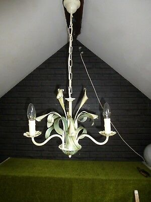 Vintage French/Italian 3 Arm  Lily Toleware Chandelier