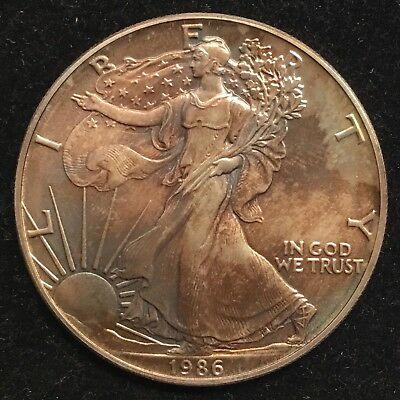 1986 Silver Eagle 1st Year, Toned BU #