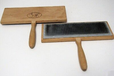 ***Pair Of Clemes & Clemes Flat Back Hand Carders  EUC  VERY NICE***