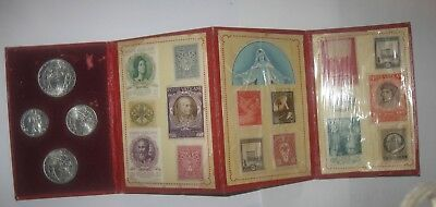 Vatican Coins & Stamps, 1950 Holy Year, Pope Pius XII, Four Coins, Sixteen Stamp