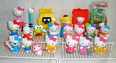 LOT OF 21 Hello Kitty  PVC figures Plus one Pez and 3 McD's houses