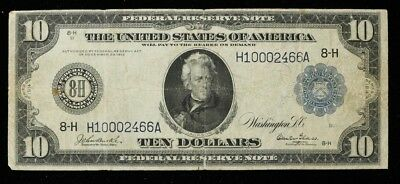 1914 Series Federal Reserve Note $10 St. Louis Mo H-A 8-H Large Fine (466)