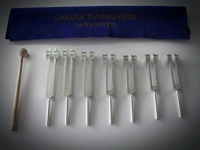 7 Chakra Healing Tuning Forks Weighted with Mallet Hot Sale