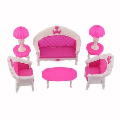 8Pcs Toys Barbie Doll Sofa Chair Couch Desk Lamp Furniture Set Disassembled W3H5