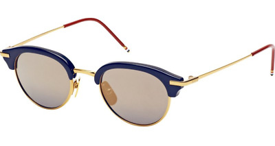 7296cfde0d6 Authentic THOM BROWNE 706 B-T-NVY-GLD Sunglasses Navy Shiny 18K Gold  NEW