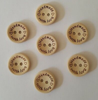 Handmade With Love Wooden Buttons Size 15mm