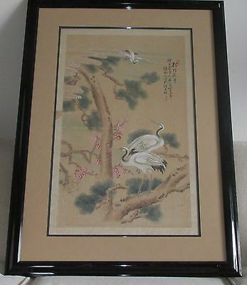 Antique Original Signed & Framed Japanese Scroll Painting of Birds & Scenery