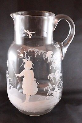 Antique Mary Gregory  Glass Jug Pitcher w/  Girl Netting Dragonfly 19th c.