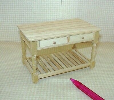 Miniature Natural Wood Work Table w/Drawers: DOLLHOUSE Miniatures 1/12 Scale