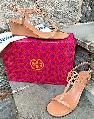 64645e727 Tory Burch New Current Miller Tan Dusty Cypress Wedge Logo Sandal Flaw  REDUCED