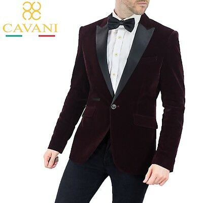Mens Cavani Kingsman Velvet Wine Blazer Tuxedo Collar Formal Smart Dinner Jacket