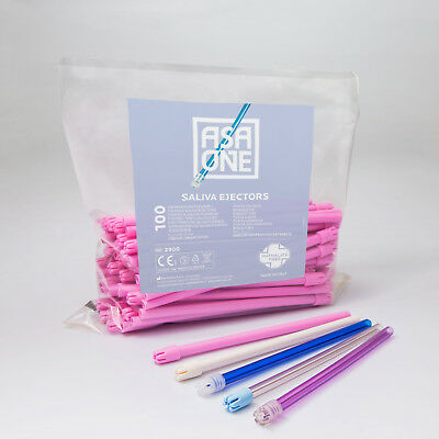 Saliva ejectors, ASA Dental, pink body, pink tip, 100/bag, 2900-PPS