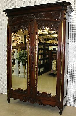 Fantastic Antique Country French Carved Normandy Armoire  Beveled Mirrors C1780