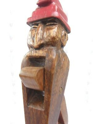 Vintage Black Forest Hand Painted Hand Carved Wooden Nut Cracker Old Man Gnome