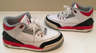 ae1d1913cd33 Nike Air Jordan 3 III Youth Size 6Y Red White Cement Gray Black 398614-120