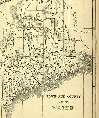 Town and County map of Maine 1849 Cumberland Kennebec Portland Augusta old map