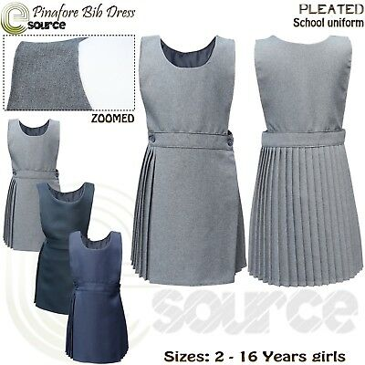 Pinafore Pleated Dress Age 2-16 Girls School Uniform Bib Pinafore dress Children